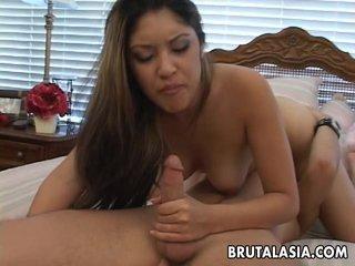 Super hot Asian bitch sixty nines and fucks r