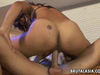 Smoking hot Asian bitch fucking a fat dick so