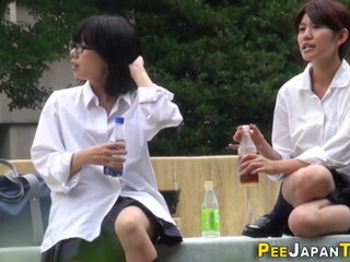 Japanese teenagers piss do well watched