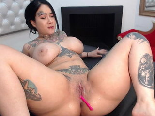 Japanese chubby breezy splashing on couch after using 3 toys