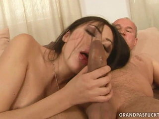 Aged ginormous cock jizzes with an Asian damsel