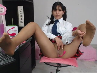 Clad as college girl plays with cunny and pantyhose soles